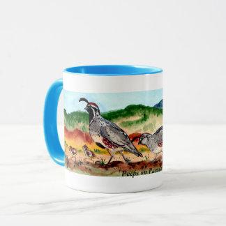 """Mug """"Piaulements illustration de famille de cailles"""