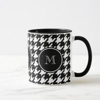 Mug Pied-de-poule noir et blanc votre monogramme