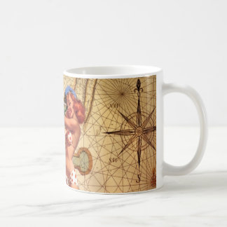 Mug Pin nautique vintage d'ancre de carte vers le haut