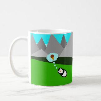 Mug Pingouin mignon rêvant de la crème glacée