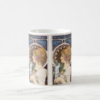 Mug Plume par Alphonse Mucha - art vintage Nouveau
