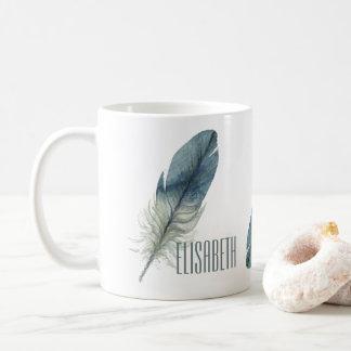 Mug Plume tirée par la main d'aquarelle de gris bleu