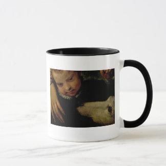 Mug Portrait d'une femme avec un enfant et un chien,