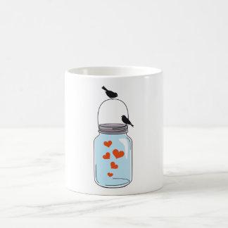 Mug pot de maçon bleu avec les coeurs et les oiseaux