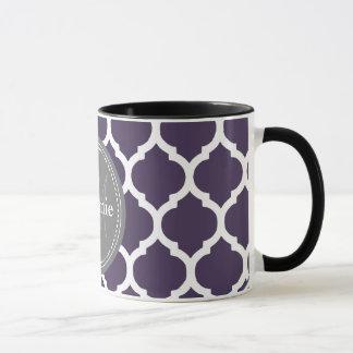 Mug Quatrefoil pourpre et gris décoré d'un monogramme
