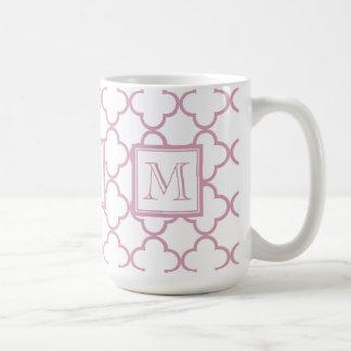 Mug Quatrefoil rose et blanc | votre monogramme
