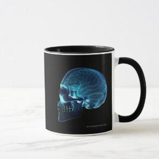 Mug Rayon X du cerveau à l'intérieur d'un crâne