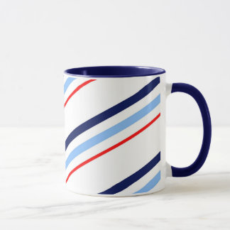 Mug Rayures bleues blanches rouges nautiques