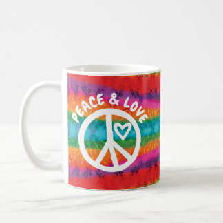 Mug Rayures de colorant de cravate de paix et d'amour