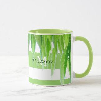 Mug Rayures et feuille blancs verts modernes de la