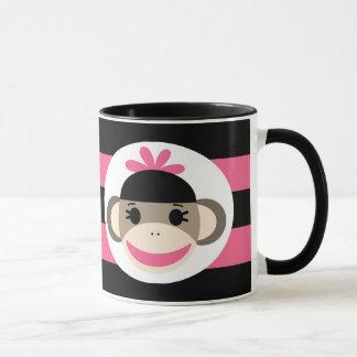 Mug Rayures mignonnes de rose de noir de singe de