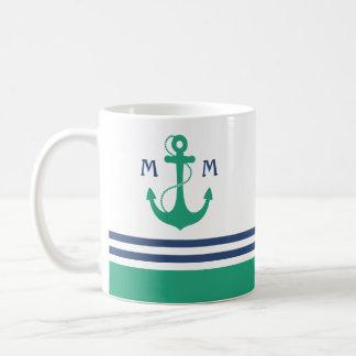 Mug Rayures nautiques avec le monogramme vert d'ancre
