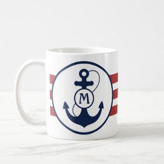 Mug Rayures nautiques rouges avec l'ancre et le