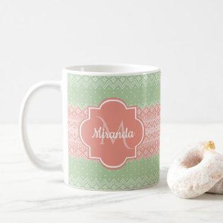 Mug Rayures roses de corail et nom de Knit vert clair