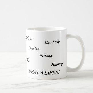 Mug Retiré, voyage par la route, camping, pêche, BBQ,