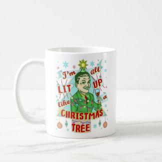 Mug Rétro Lit potable d'homme d'humour de Noël drôle