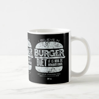 Mug Rétro style : Je crois au régime d'hamburger