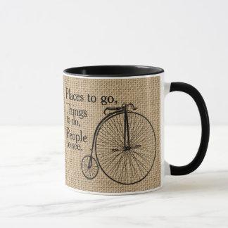 Mug Rétro toile de jute de vélo de vélo sur rail