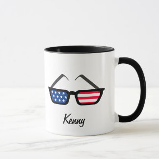 Mug Rétros lunettes de soleil patriotiques de drapeau