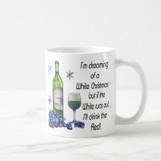 Mug Rêvant de Noël blanc, cadeaux drôles d'art de vin