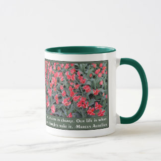 Mug Rose et blanc de Varigated avec la citation