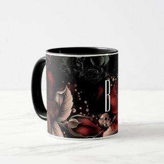 Mug Roses et crâne noirs rouges d'étincelle