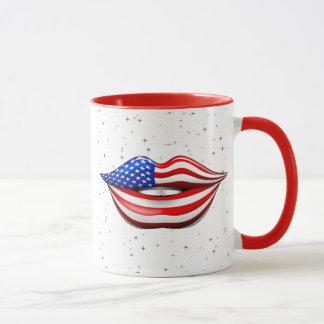 Mug Rouge à lèvres de drapeau des Etats-Unis sur la