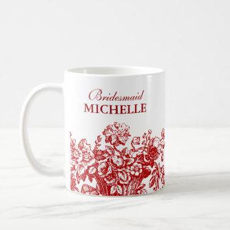 Mug Rouge nuptiale de panier floral de faveur de
