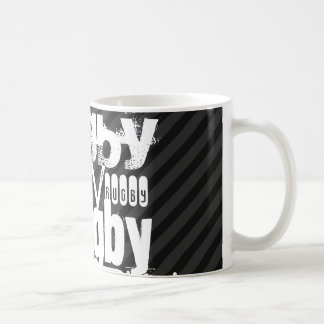 Mug Rugby ; Rayures noires et gris-foncé