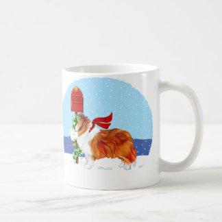 Mug Sable de courrier de Noël de Sheltie