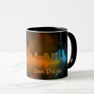 Mug San Diego Californie Ville Skyline Watercolor v04