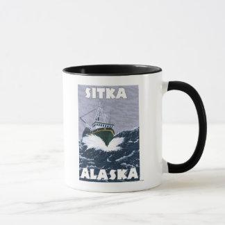 Mug Scène de bateau de pêche - Sitka, Alaska