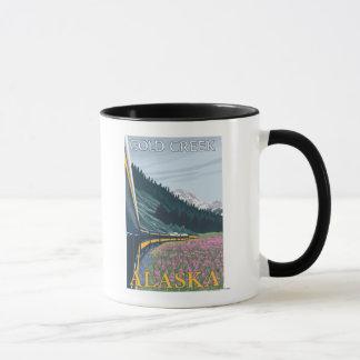 Mug Scène de chemin de fer de l'Alaska - crique d'or,