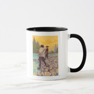 Mug Scène de pêche de mouche de MaineWomen