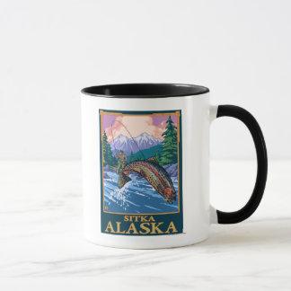 Mug Scène de pêche de mouche - Sitka, Alaska