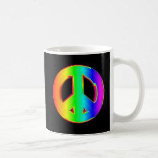 Mug signe de paix à trois dimensions d'arc-en-ciel #1