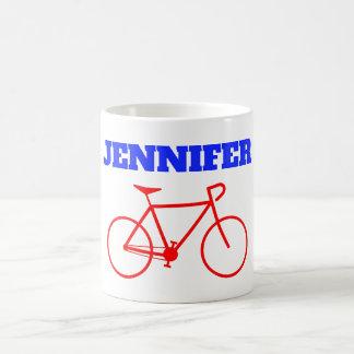 Mug Silhouette rouge simple de bicyclette + Nom fait