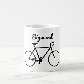 Mug Silhouette simple de bicyclette + Nom personnalisé