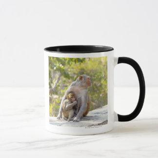 Mug Singes de Macaque de rhésus de mère et de bébé sur