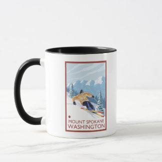 Mug Skieur de neige de Downhhill - bâti Spokane,