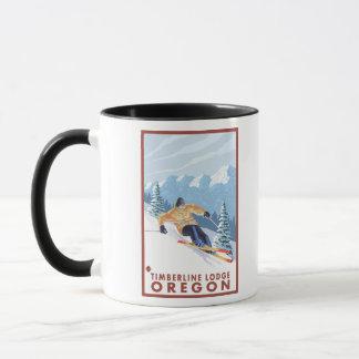 Mug Skieur de neige de Downhhill - loge de Timberline,