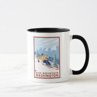 Mug Skieur de neige de Downhhill - montagne bleue,