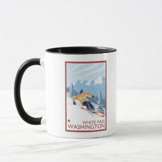 Mug Skieur de neige de Downhhill - passage blanc,