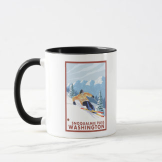 Mug Skieur de neige de Downhhill - passage de