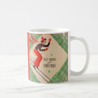 Mug skieur de Noël des années 1950
