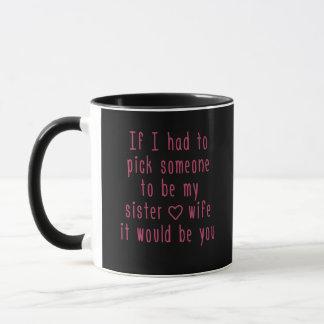 Mug Soeur romantique noire d'amour de citation rose et