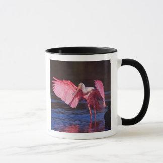Mug Spatule rose (ajaja d'Ajaia) avec Cormorant
