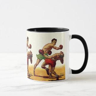 Mug Sports vintages, boxeurs dans un combat de boxe