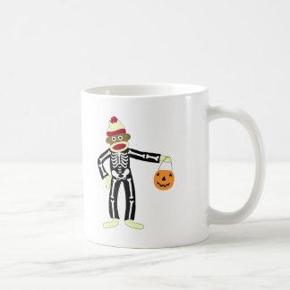 Mug Squelette Halloween de singe de chaussette