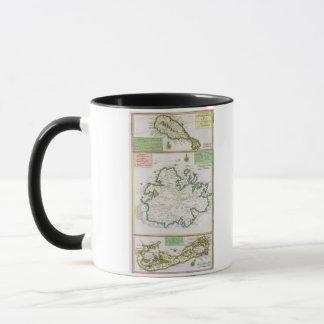 Mug St Kitts, Antigua et Bermudes, détail d'une carte